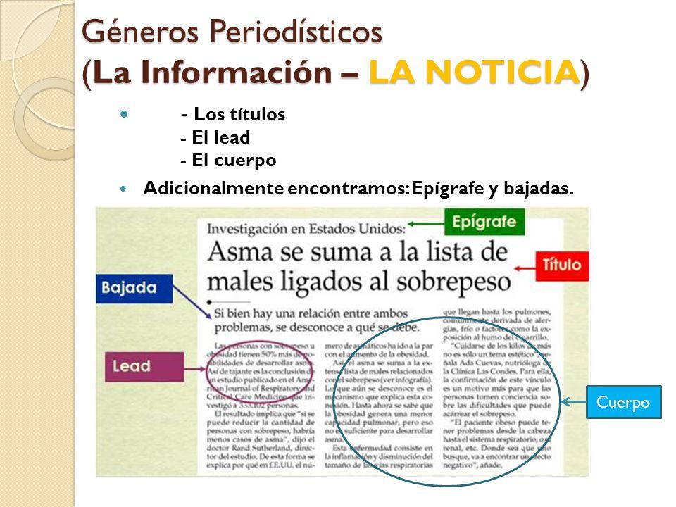 Géneros Periodísticos (La Información – LA NOTICIA)