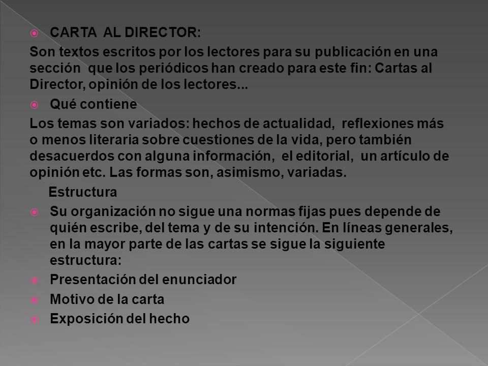CARTA AL DIRECTOR: