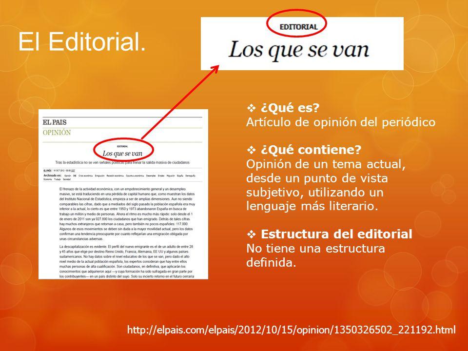 El Editorial. ¿Qué es Artículo de opinión del periódico