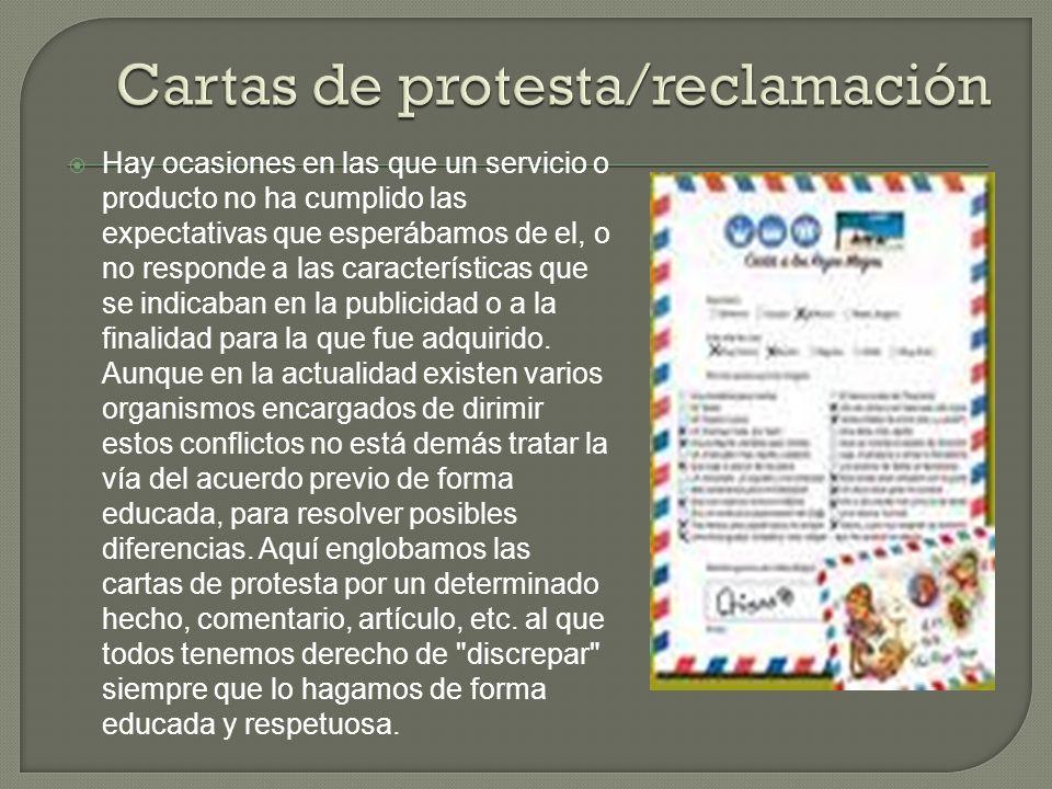 Cartas de protesta/reclamación