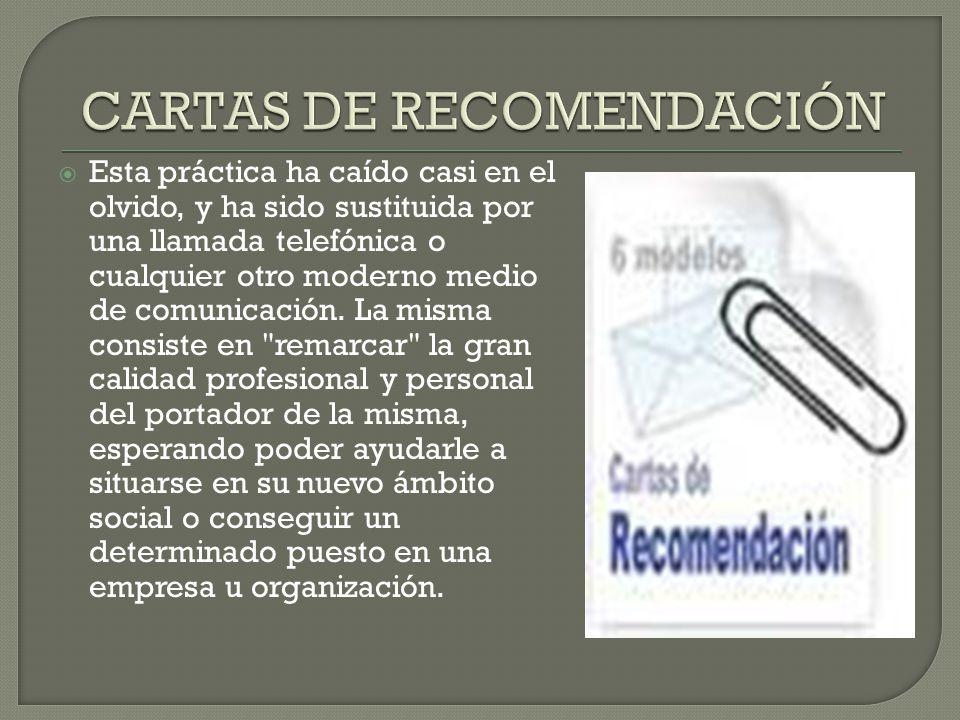 CARTAS DE RECOMENDACIÓN