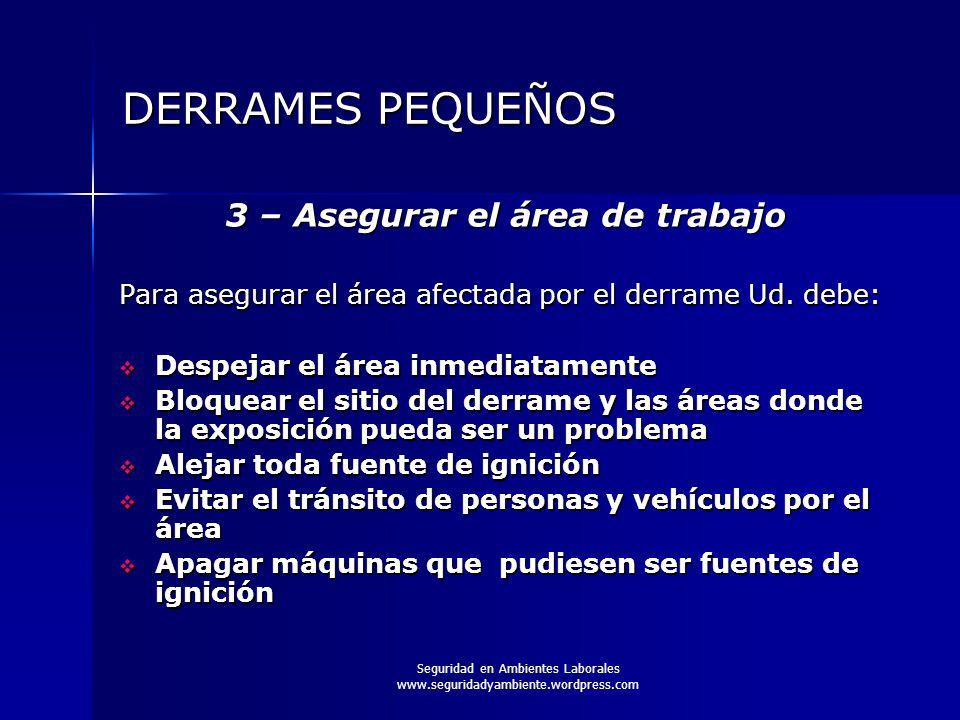 3 – Asegurar el área de trabajo
