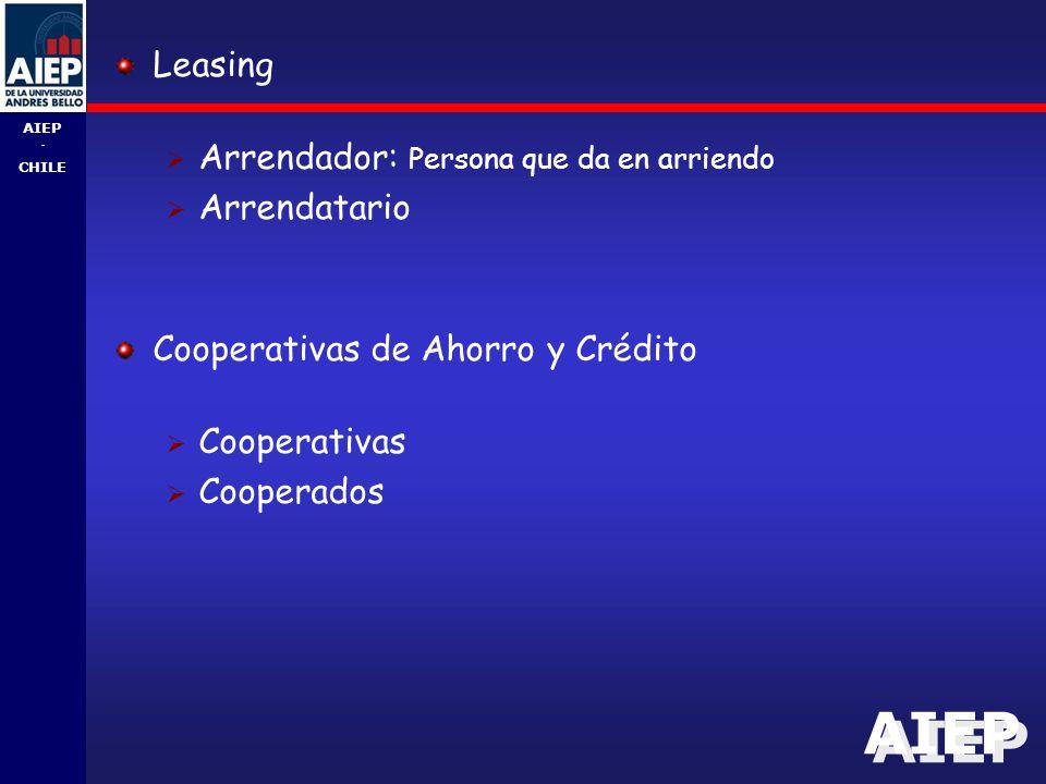 Leasing Arrendador: Persona que da en arriendo. Arrendatario. Cooperativas de Ahorro y Crédito. Cooperativas.