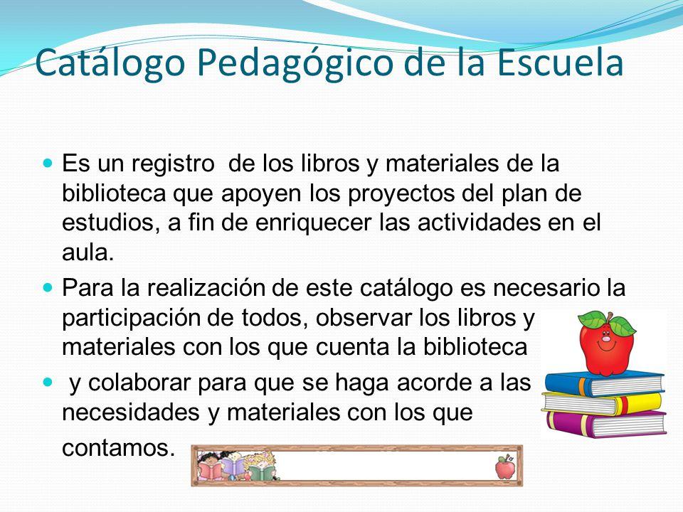 Catálogo Pedagógico de la Escuela