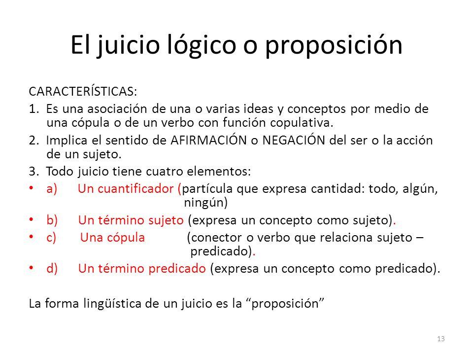 El juicio lógico o proposición
