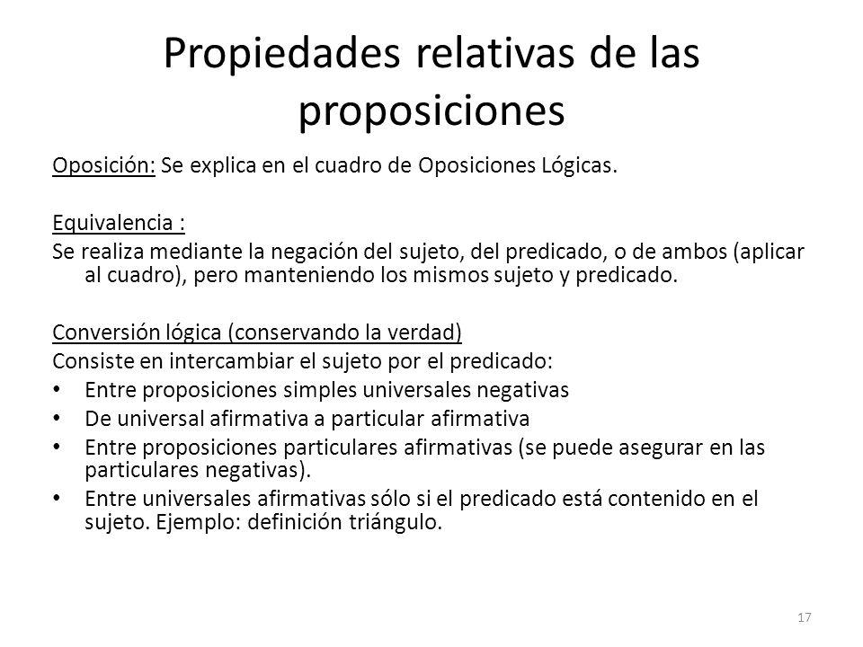 Propiedades relativas de las proposiciones