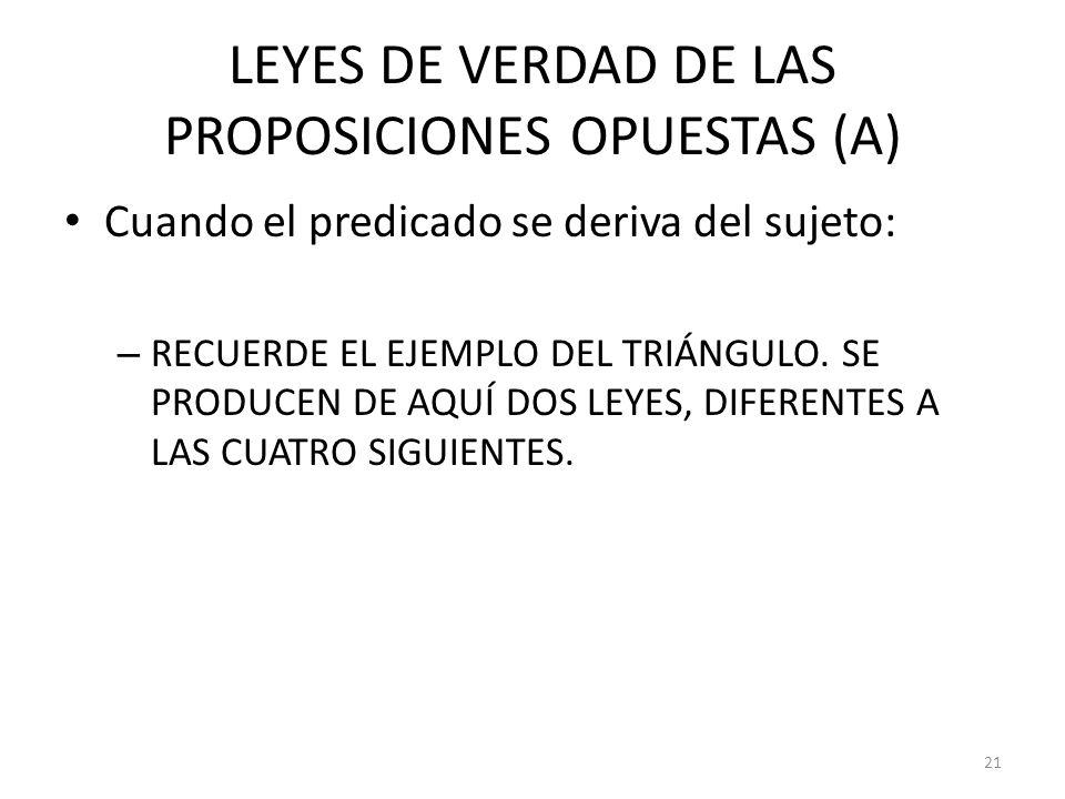 LEYES DE VERDAD DE LAS PROPOSICIONES OPUESTAS (A)