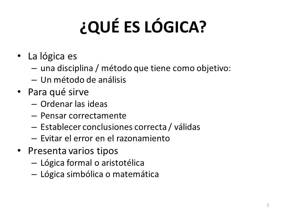 ¿QUÉ ES LÓGICA La lógica es Para qué sirve Presenta varios tipos