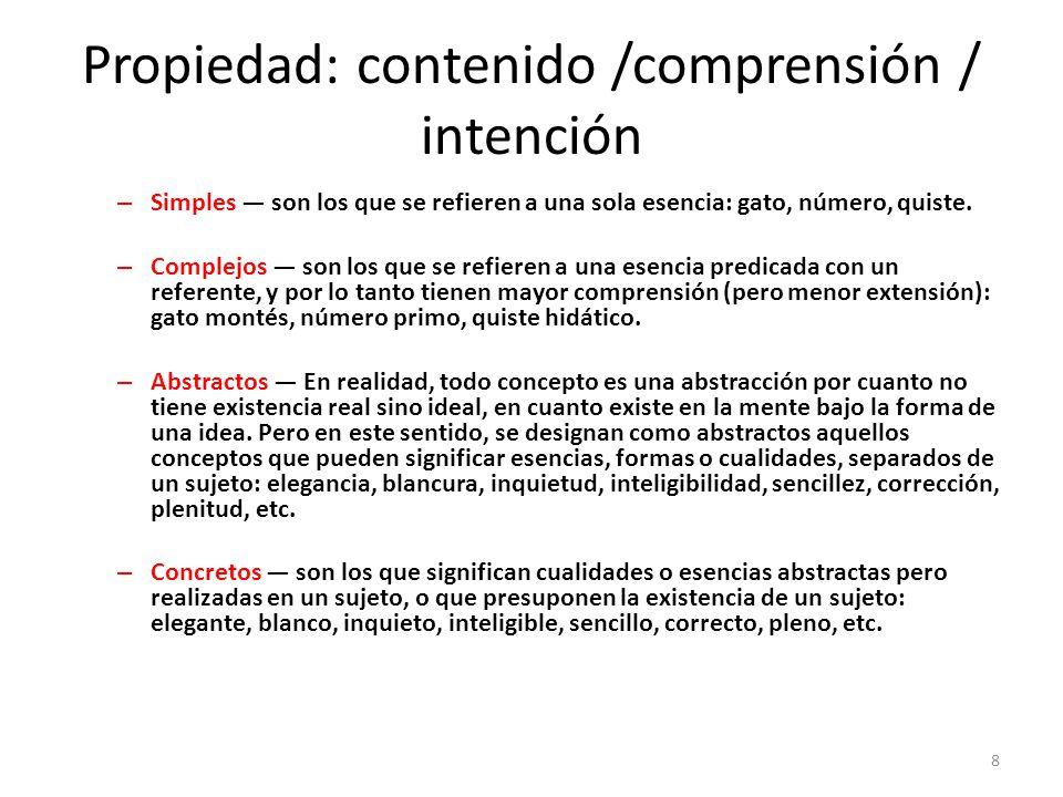 Propiedad: contenido /comprensión / intención