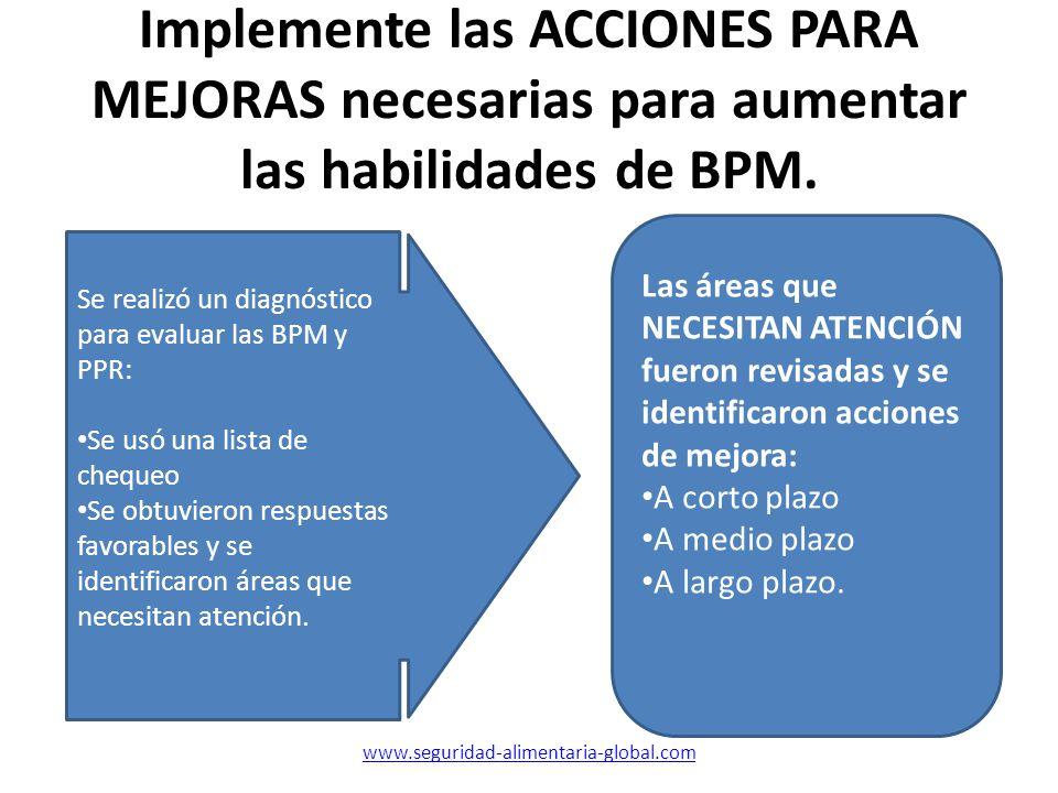 Implemente las ACCIONES PARA MEJORAS necesarias para aumentar las habilidades de BPM.