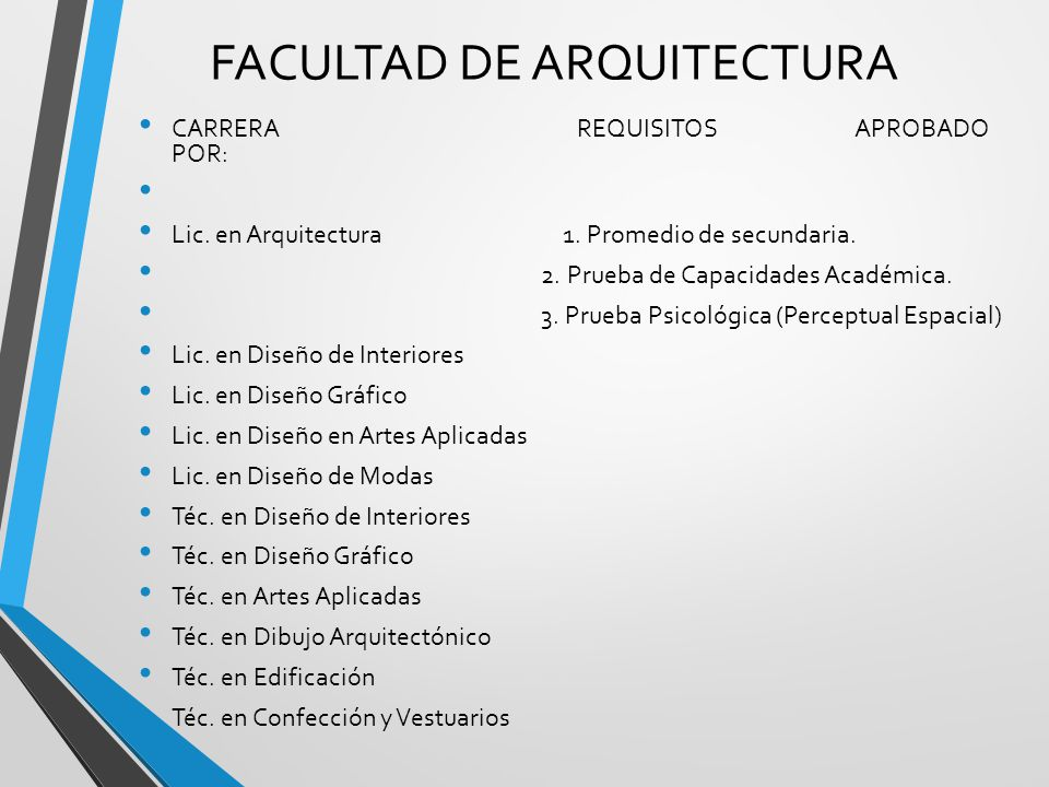 B squeda universitaria d nde y qu quieres estudiar for Requisitos para estudiar arquitectura
