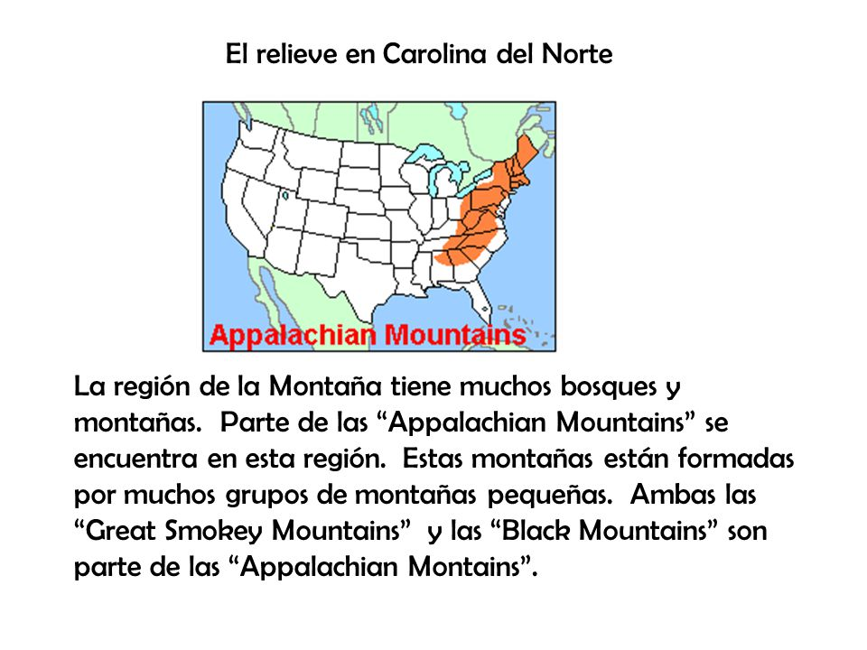 El relieve en Carolina del Norte
