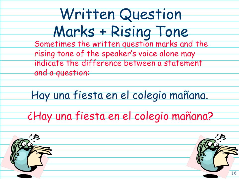 Written Question Marks + Rising Tone