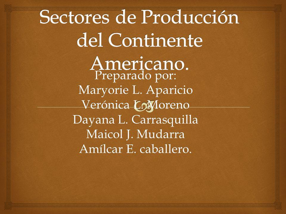 Sectores de Producción del Continente Americano.