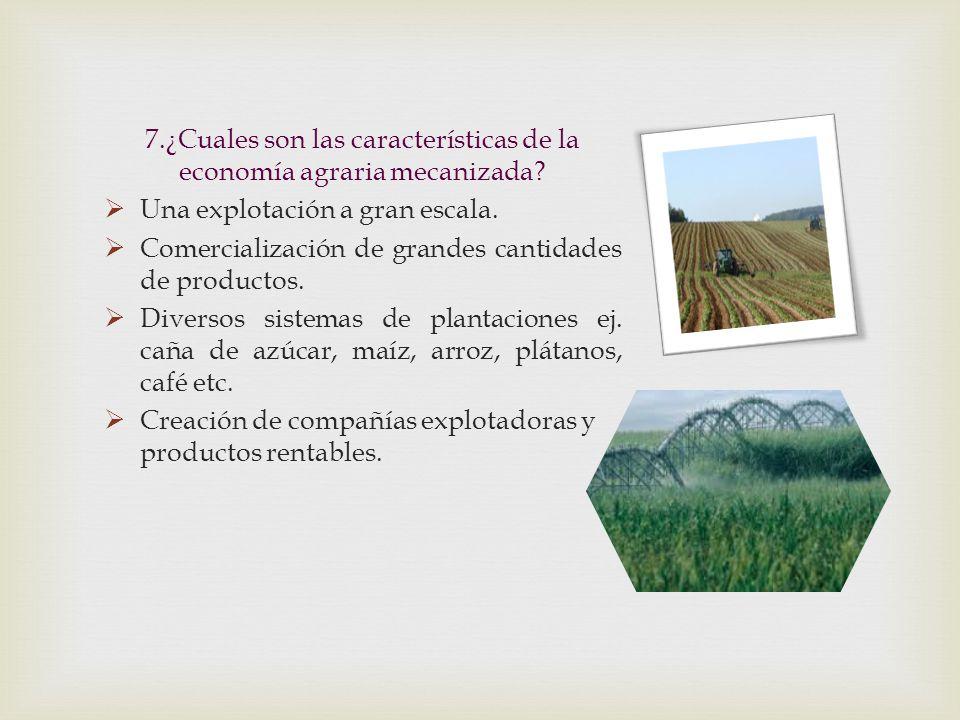7.¿Cuales son las características de la economía agraria mecanizada