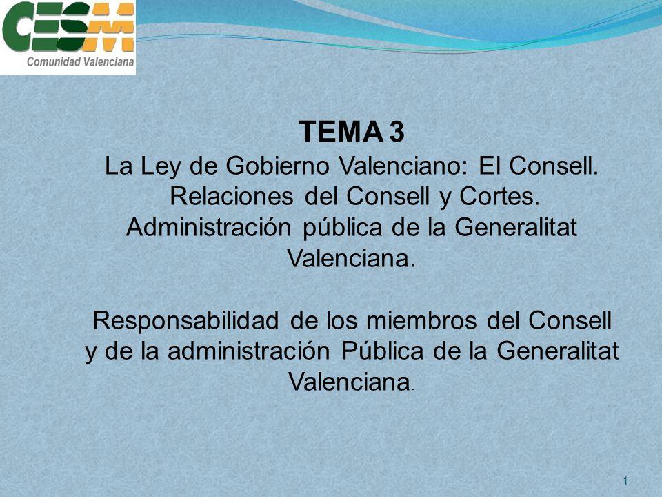 TEMA 3 La Ley de Gobierno Valenciano: El Consell.