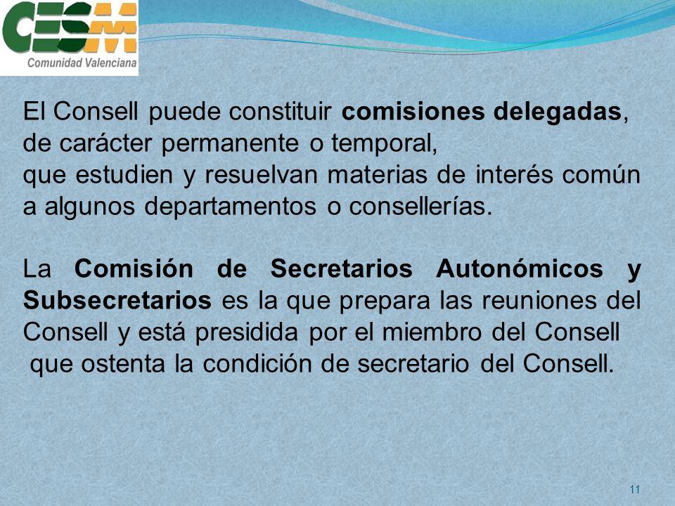 El Consell puede constituir comisiones delegadas,