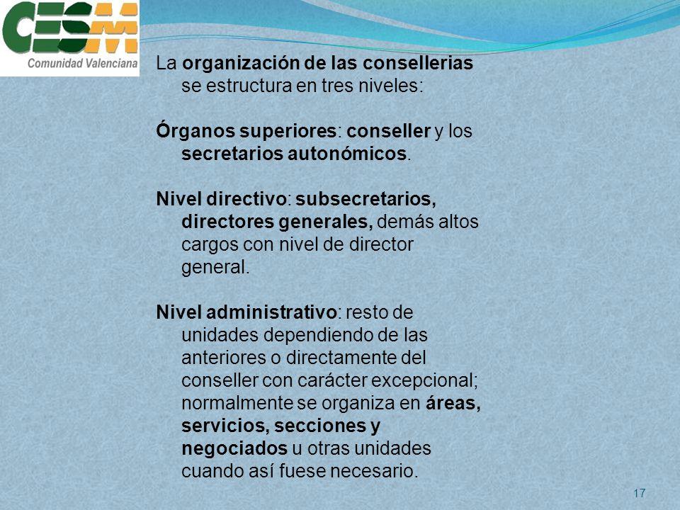 La organización de las consellerias se estructura en tres niveles: