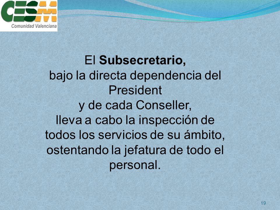 bajo la directa dependencia del President y de cada Conseller,