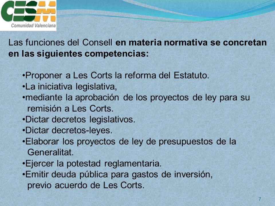 Las funciones del Consell en materia normativa se concretan