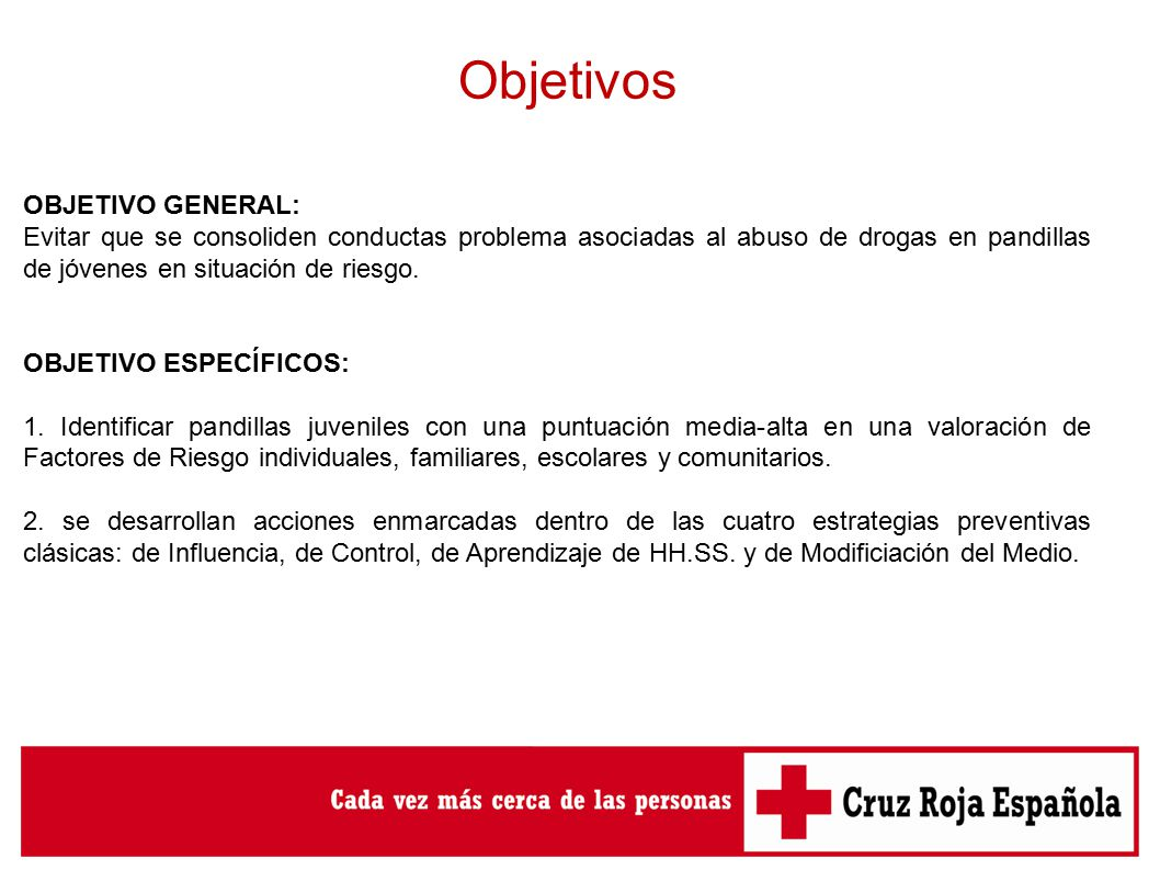 Cruz roja de asturias prevencion de consumo de drogas y for Objetivo general de un vivero