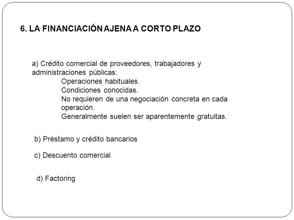6. LA FINANCIACIÓN AJENA A CORTO PLAZO