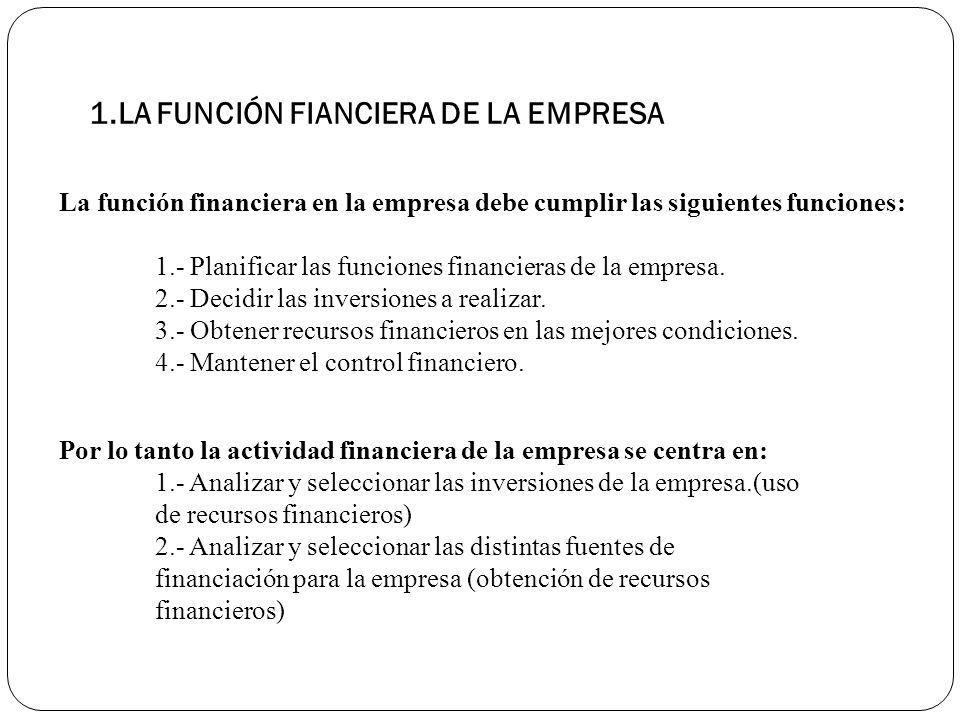 1.LA FUNCIÓN FIANCIERA DE LA EMPRESA