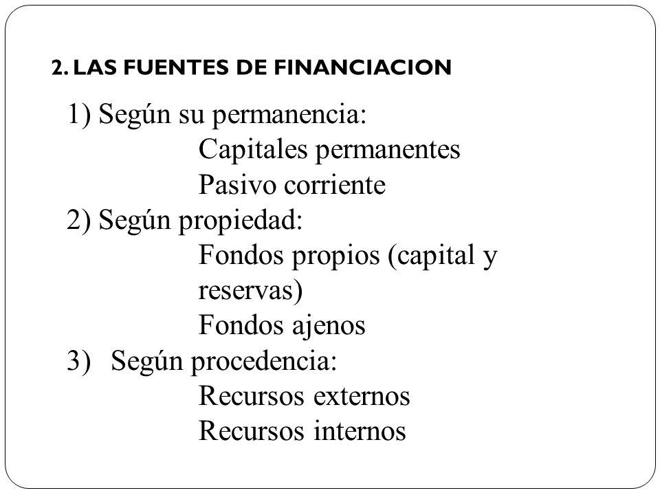 1) Según su permanencia: Capitales permanentes Pasivo corriente