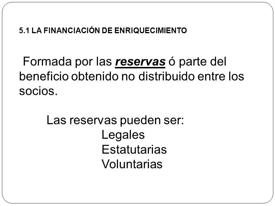 Las reservas pueden ser: Legales Estatutarias Voluntarias
