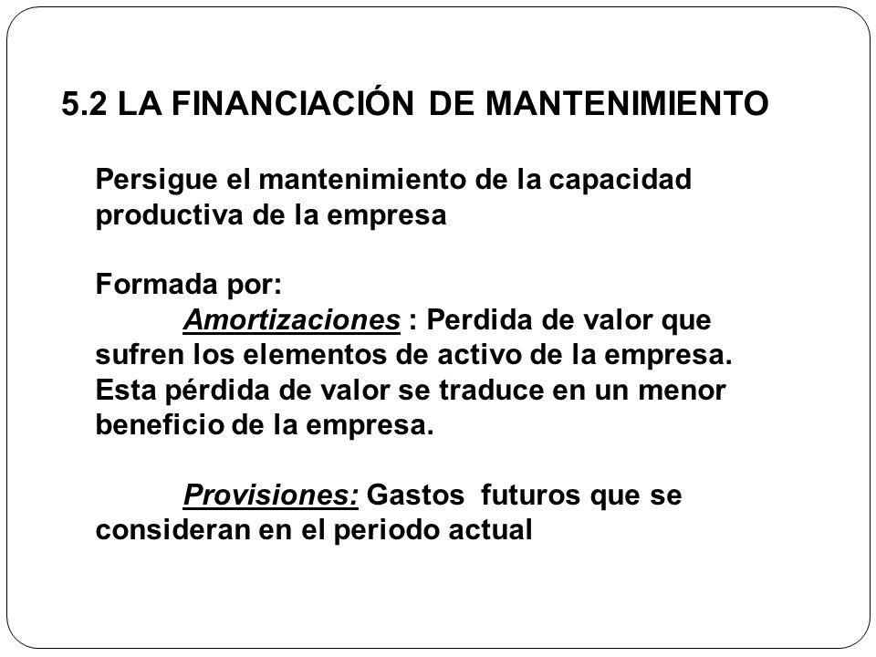 5.2 LA FINANCIACIÓN DE MANTENIMIENTO