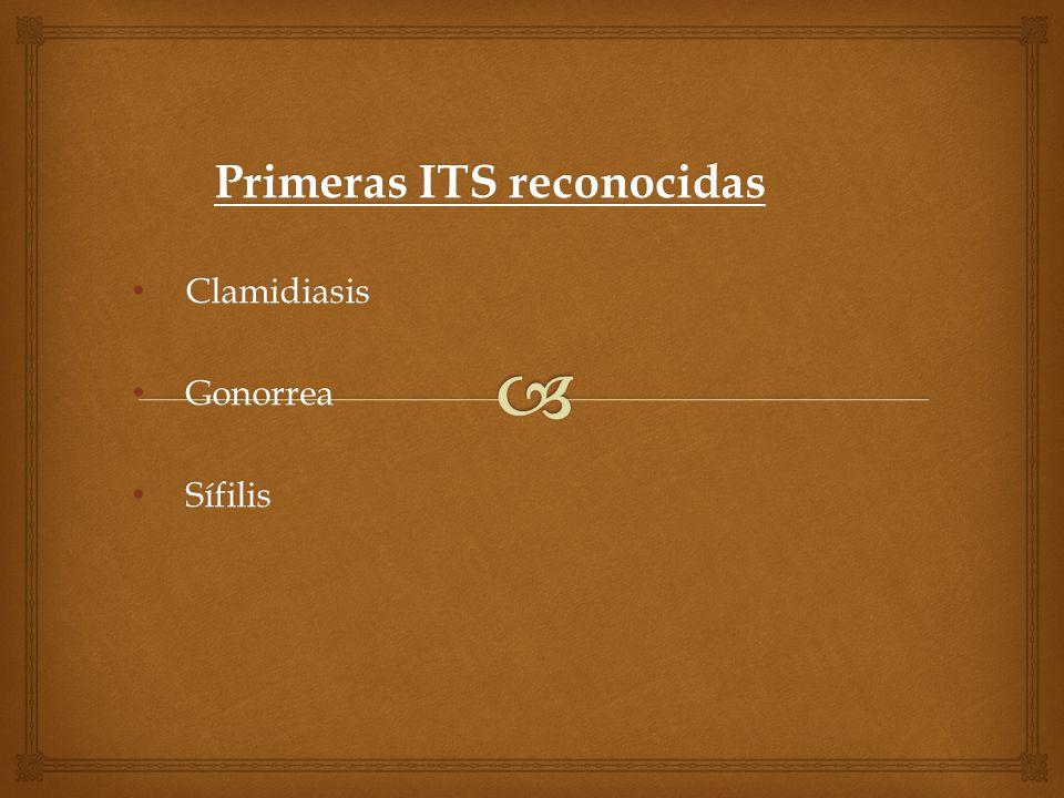 Primeras ITS reconocidas Clamidiasis Gonorrea Sífilis