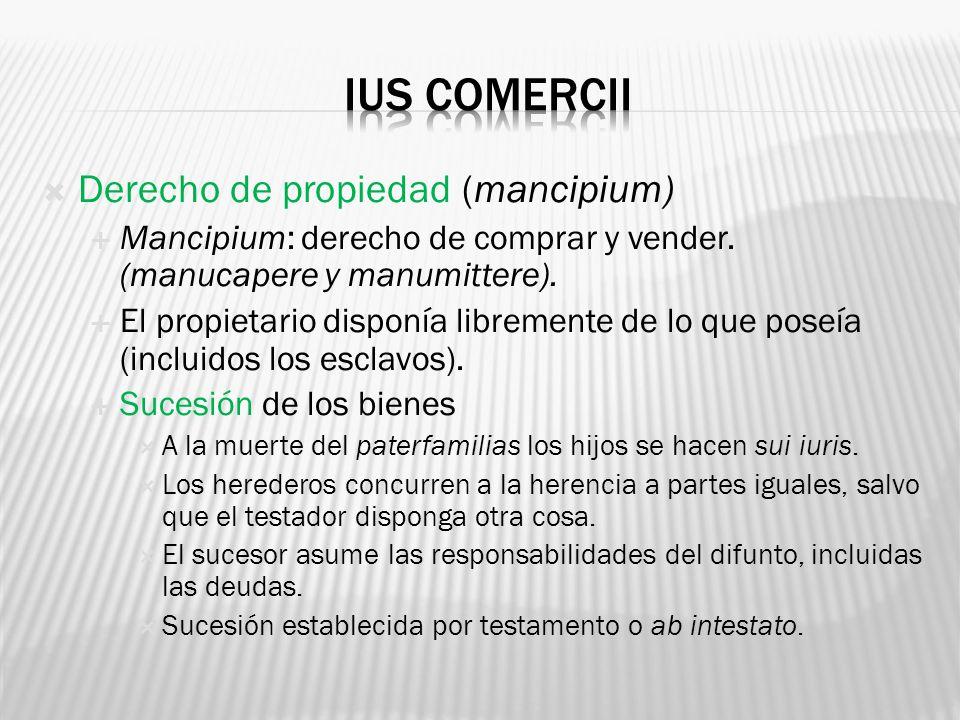 IUS COMERCII Derecho de propiedad (mancipium)