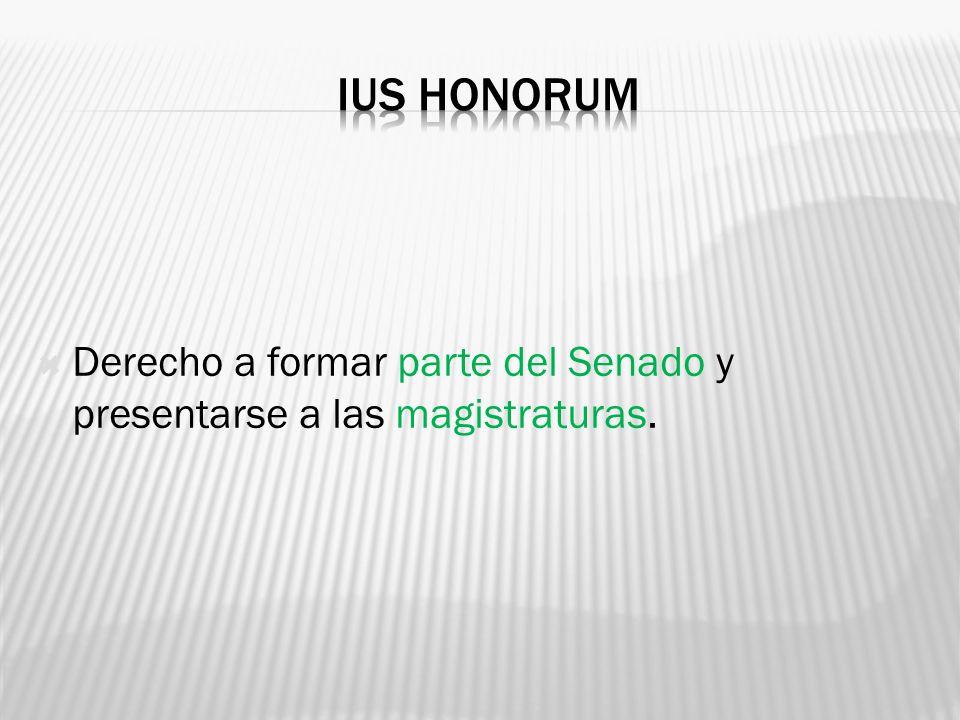 Ius honorum Derecho a formar parte del Senado y presentarse a las magistraturas.