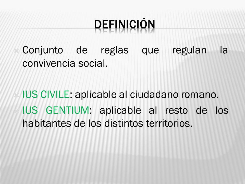 DEFINICIÓN Conjunto de reglas que regulan la convivencia social.