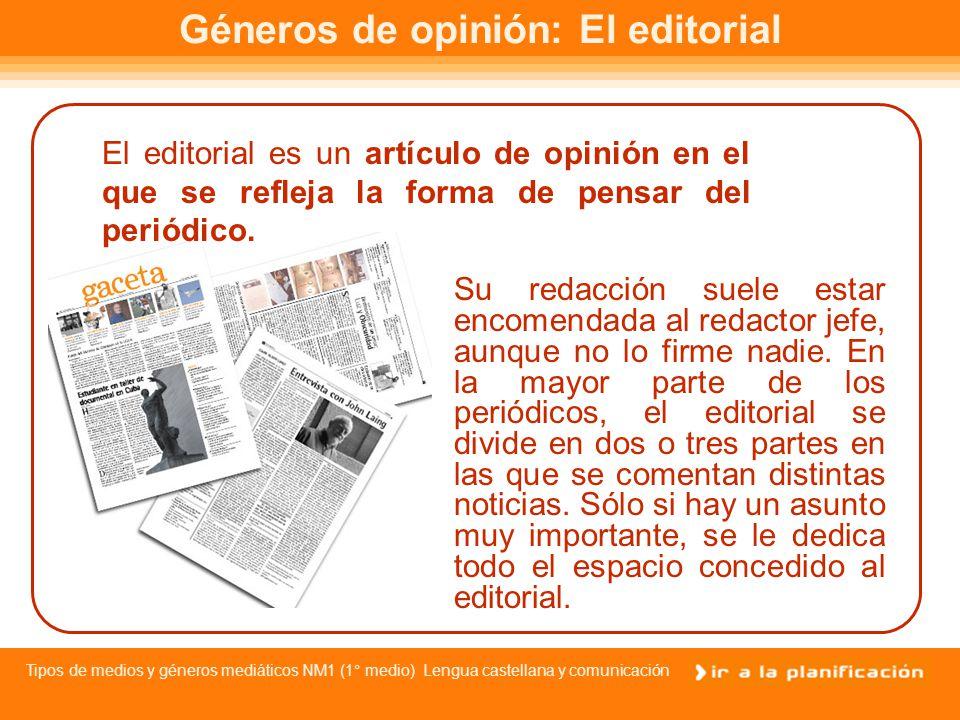 Géneros de opinión: El editorial
