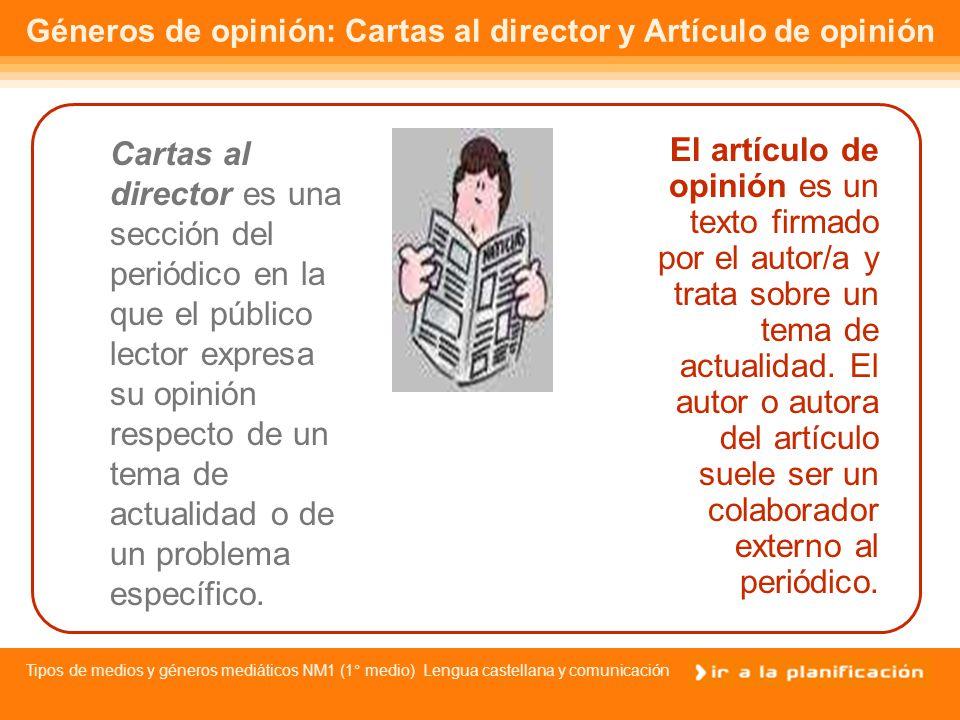 Géneros de opinión: Cartas al director y Artículo de opinión