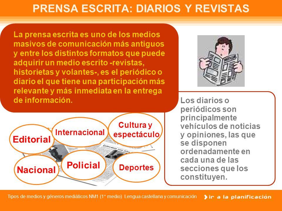 PRENSA ESCRITA: DIARIOS Y REVISTAS