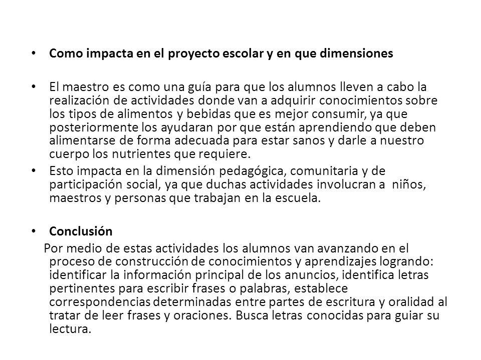 Como impacta en el proyecto escolar y en que dimensiones