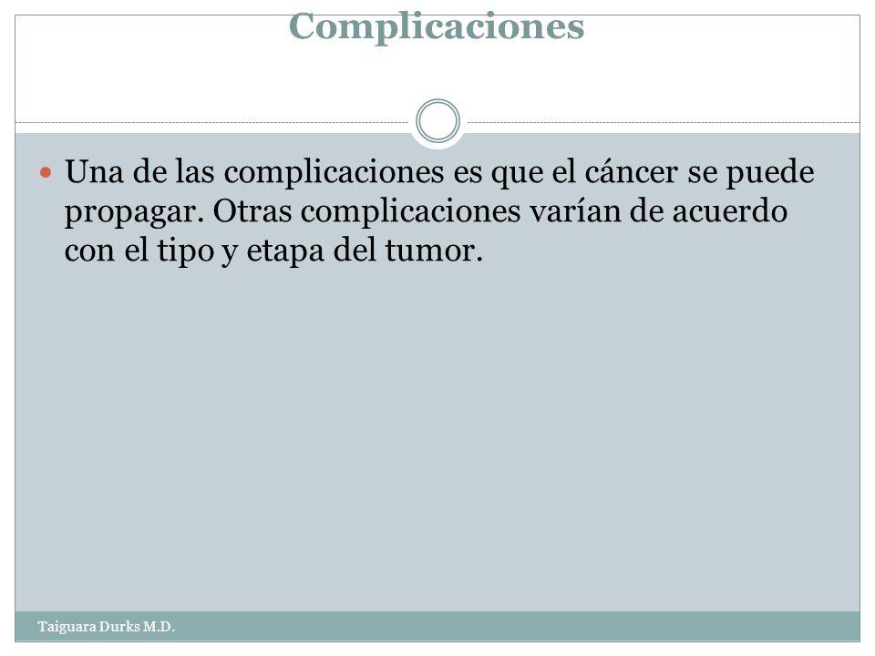Complicaciones Una de las complicaciones es que el cáncer se puede propagar. Otras complicaciones varían de acuerdo con el tipo y etapa del tumor.