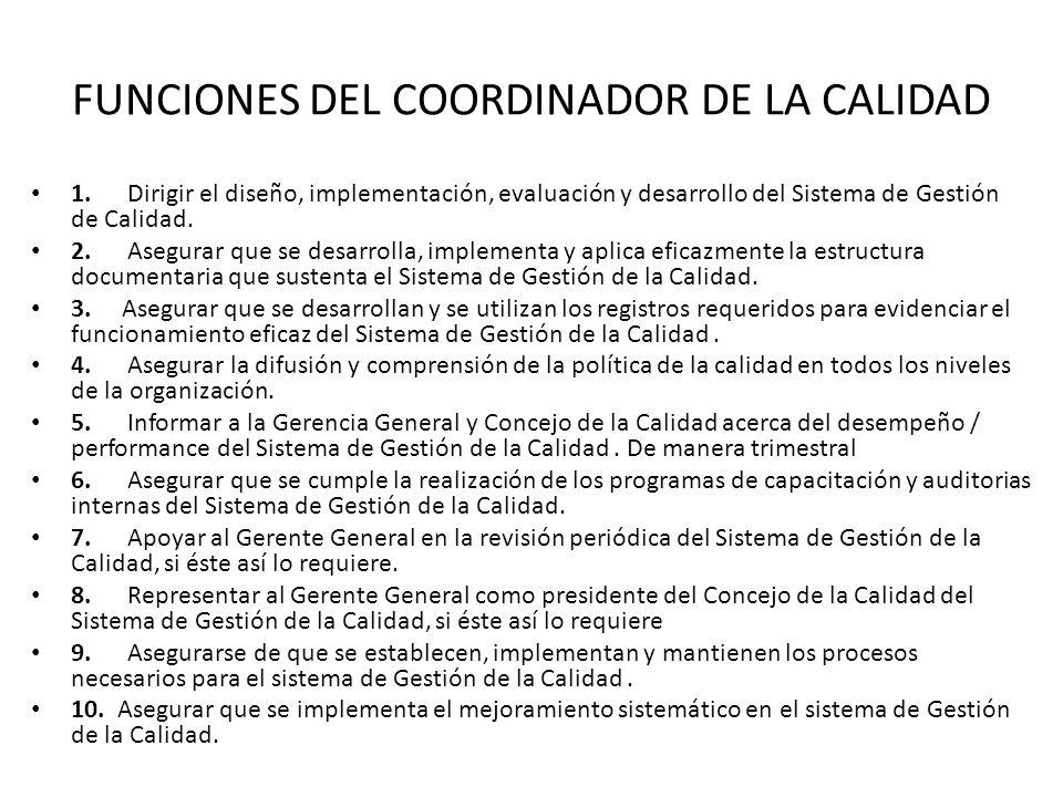 FUNCIONES DEL COORDINADOR DE LA CALIDAD