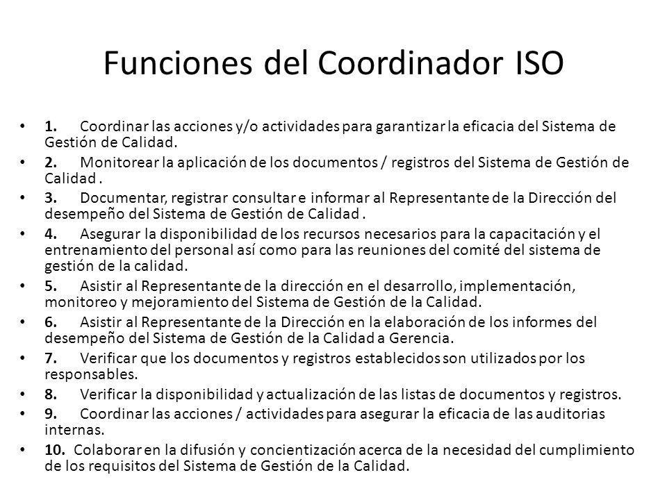 Funciones del Coordinador ISO
