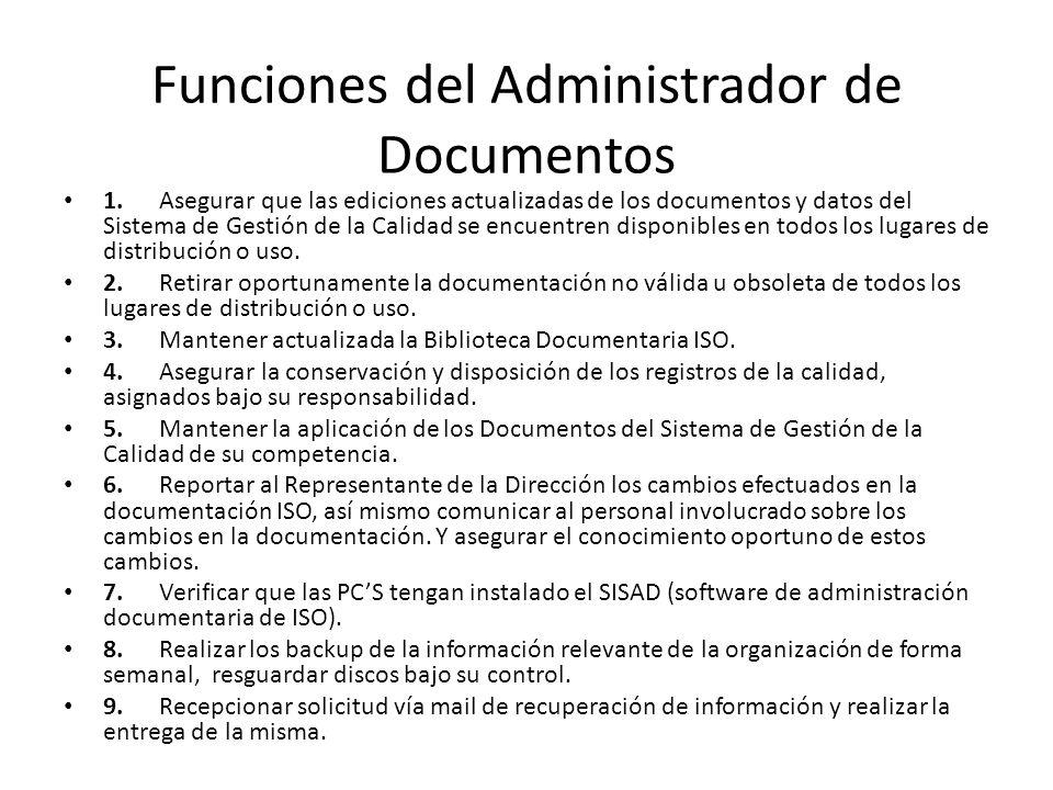 Funciones del Administrador de Documentos
