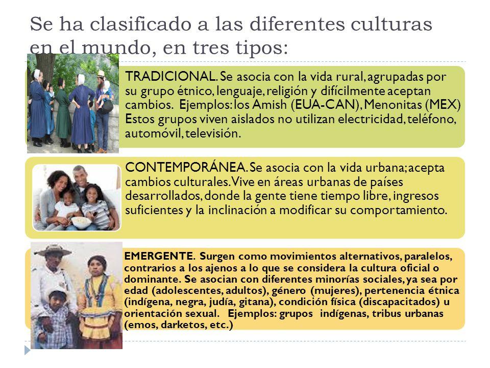 Se ha clasificado a las diferentes culturas en el mundo, en tres tipos: