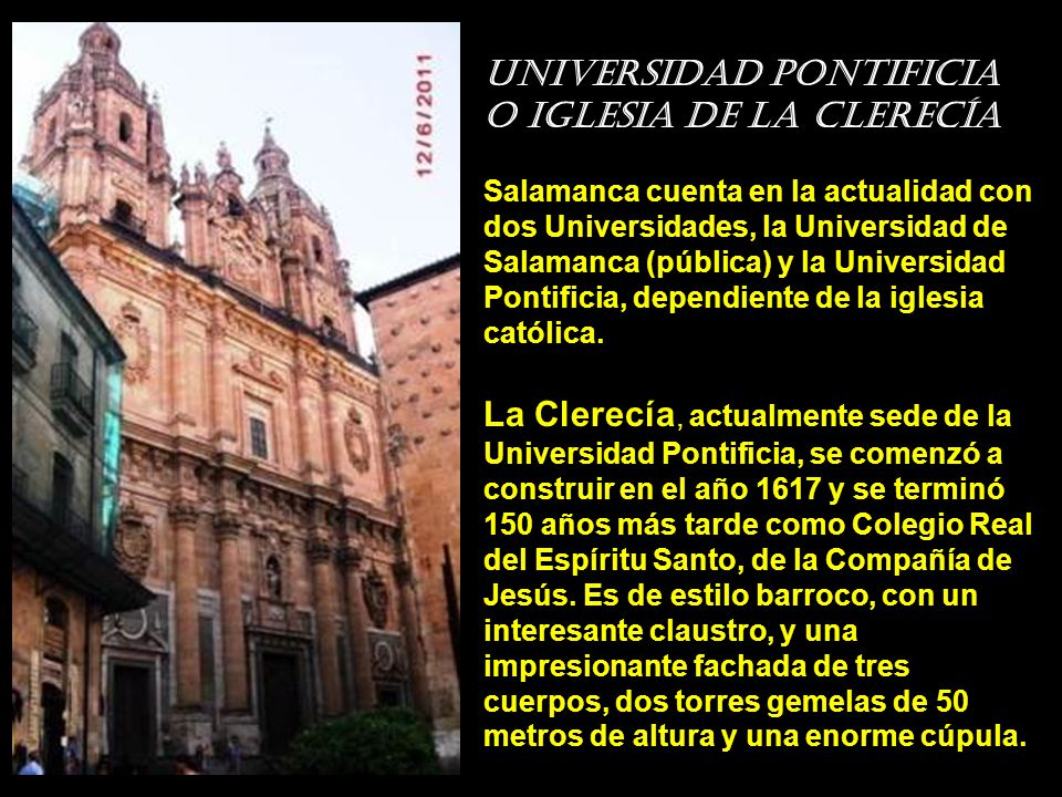 Universidad pontificia o Iglesia de la Clerecía