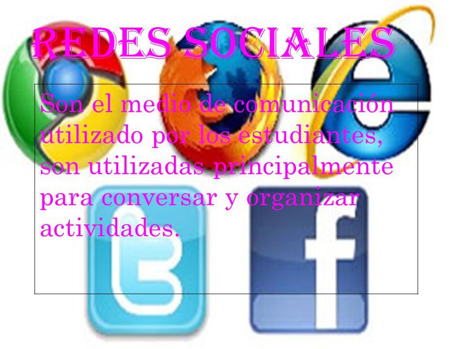 REDES SOCIALES Son el medio de comunicación utilizado por los estudiantes, son utilizadas principalmente para conversar y organizar actividades.
