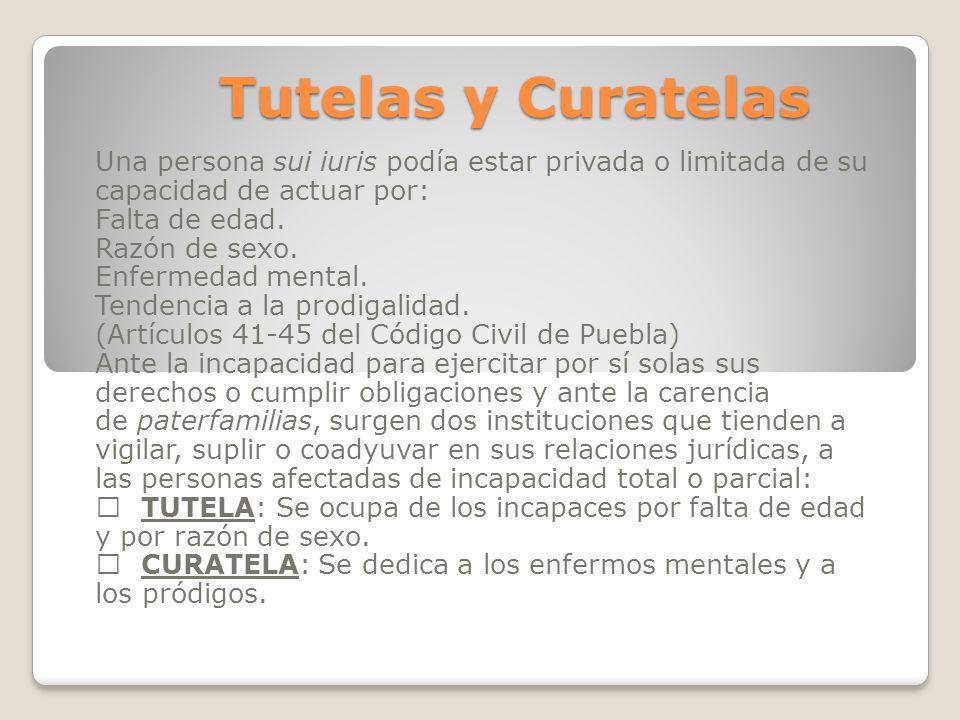 Tutelas y Curatelas Una persona sui iuris podía estar privada o limitada de su capacidad de actuar por: