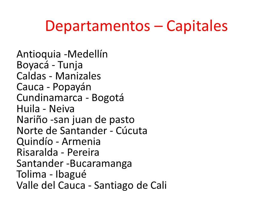 Departamentos – Capitales