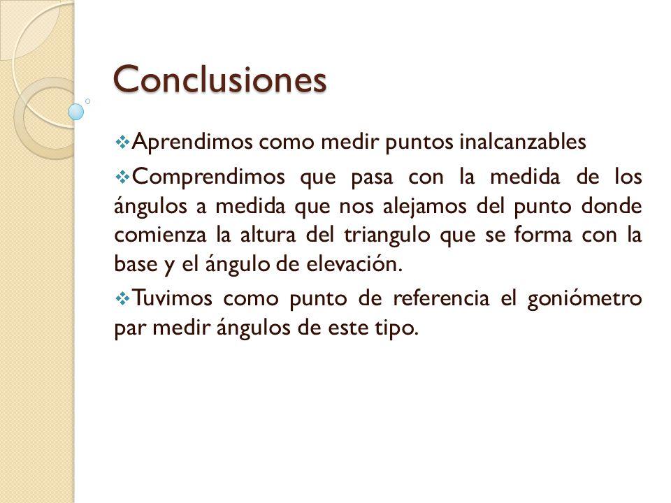 Conclusiones Aprendimos como medir puntos inalcanzables