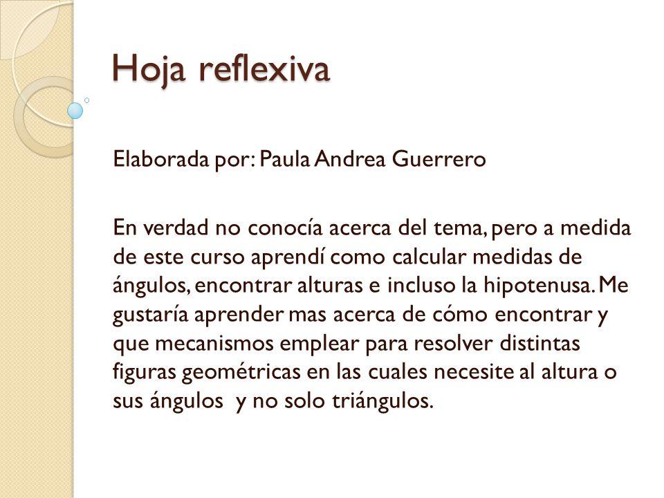 Hoja reflexiva Elaborada por: Paula Andrea Guerrero