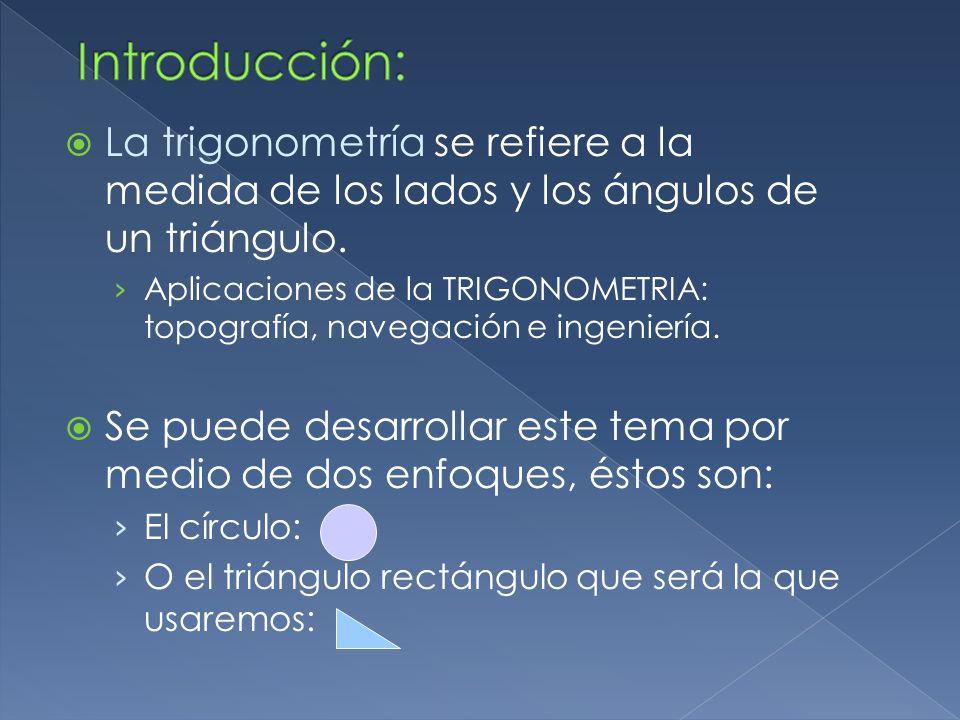 Introducción: La trigonometría se refiere a la medida de los lados y los ángulos de un triángulo.